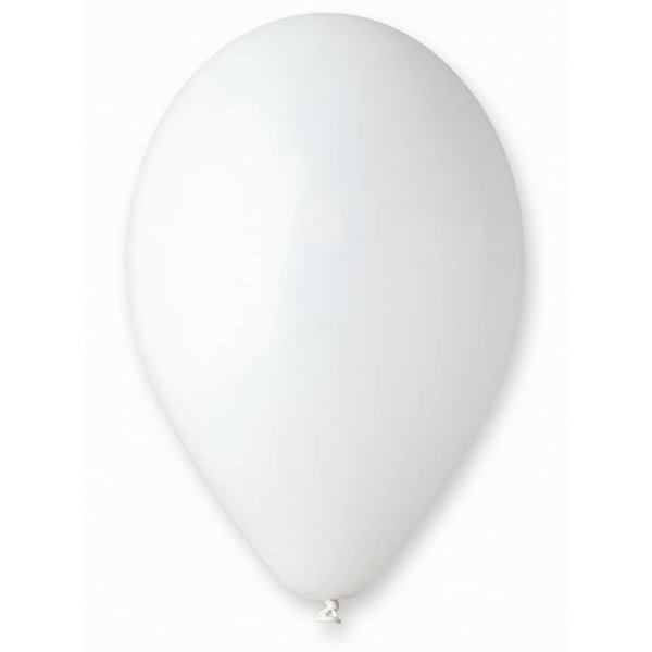 Balón pastelový biely, 26cm, 1ks