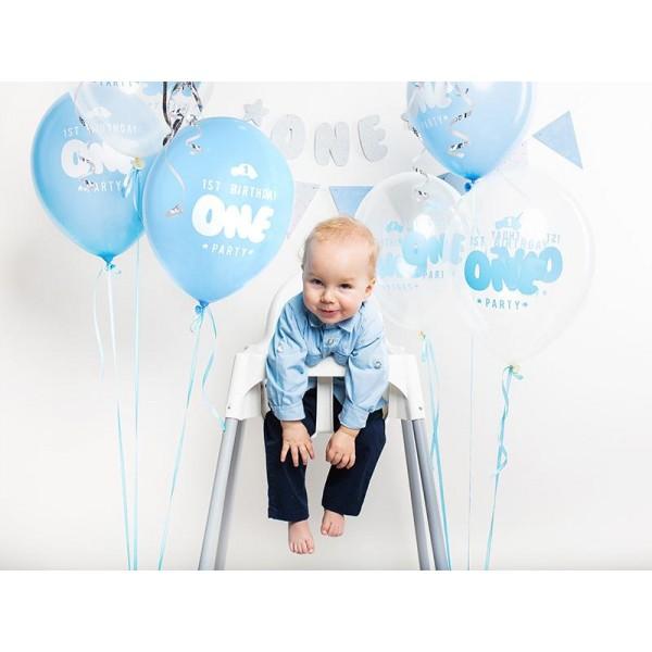 Balóny 1. narodeniny, modré a priesvitné, 30cm, 1ks