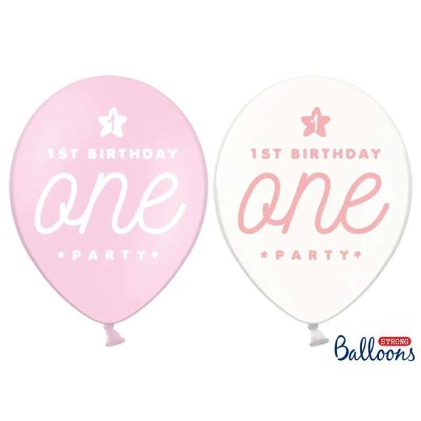 Balóny 1. narodeniny, ružové a priesvitné, 30cm, 1ks