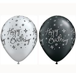 Balóny Happy Birthday, mix čierne a strieborné, 30cm, 1ks