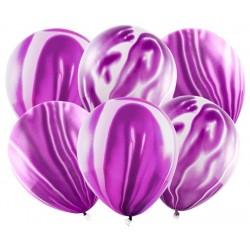 Balóny mramorovým vzor, fialové, 30cm, 6ks