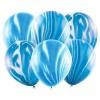 Balóny mramorovým vzor, modré, 30cm, 6ks