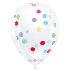 Balóny s farebnými konfetami, priesvitný, 30cm, 6ks