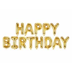 Fóliové balóny nápis Happy Birthday, zlatý, 340x35cm