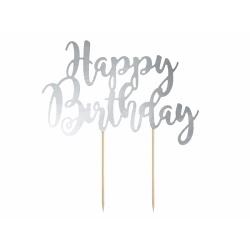 Nápis na tortu Happy Birthday, lesklá strieborná