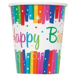 Papierové poháre Happy Birthday dúhové, 8ks
