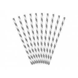 Papierové slamky strieborné lesklé pruhované, 10ks