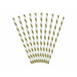 Papierové slamky zlaté lesklé pruhované, 10ks