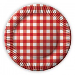 Papierové taniere červené káro, 23cm, 8ks