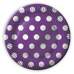 Papierové taniere fialové s bielymi bodkami, 23cm, 8ks