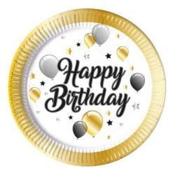 Papierové taniere Happy Birthday, balóny, 23cm, 8ks