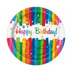 Papierové taniere Happy Birthday dúhové, 23cm, 8ks