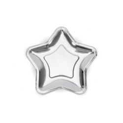 Papierové taniere hviezda strieborné lesklé, 18cm, 6ks