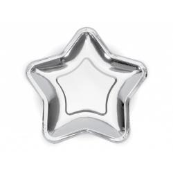 Papierové taniere hviezda strieborné lesklé, 23cm, 6ks