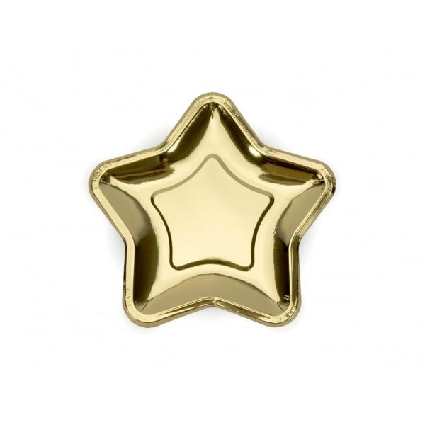 Papierové taniere hviezda zlaté lesklé, 18cm, 6ks