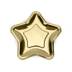 Papierové taniere hviezda zlaté lesklé, 23cm, 6ks