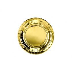 Papierové taniere zlaté lesklé, 18cm, 6ks