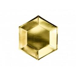 Papierové taniere zlaté lesklé, 20cm, 6ks