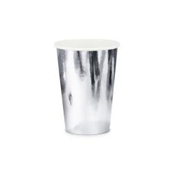 Papierový pohár strieborný, 220ml, 6ks