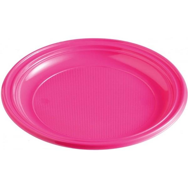 Plastový tanier tmavoružový, 22cm, 10ks