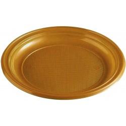 Plastový tanier zlatý, 22cm, 30ks