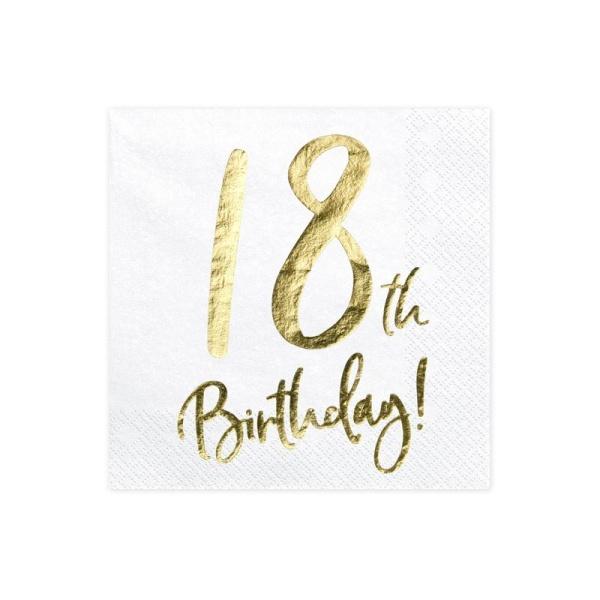 Servítky 18. narodeniny, biele, 33x33cm, 20ks