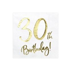Servítky 30. narodeniny, biele, 33x33cm, 20ks