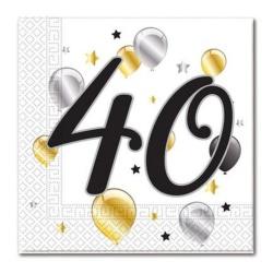 Servítky 40. narodeniny, balóny, 33x33cm, 20ks