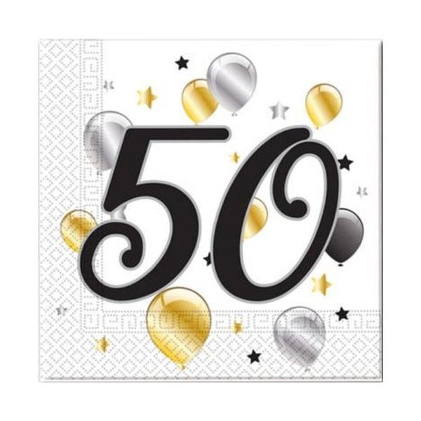 Servítky 50. narodeniny, balóny, 33x33cm, 20ks