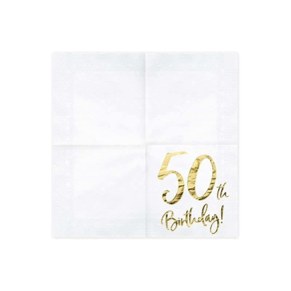 Servítky 50. narodeniny, biele, 33x33cm, 20ks