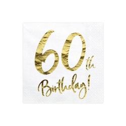 Servítky 60. narodeniny, biele, 33x33cm, 20ks