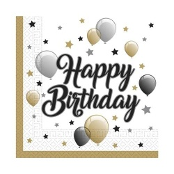 Servítky Happy Birthday, balóny, 33x33cm, 20ks