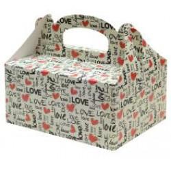 Zákusková krabica Love s výstužou, 19x14x9cm, 5ks