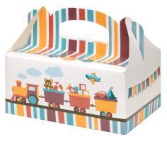 Zákusková krabica Vláčik s výstužou, 19x14x9cm, 5ks