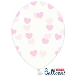 Balón Srdiečka bledoružový, priehľadný, 30cm, 1ks