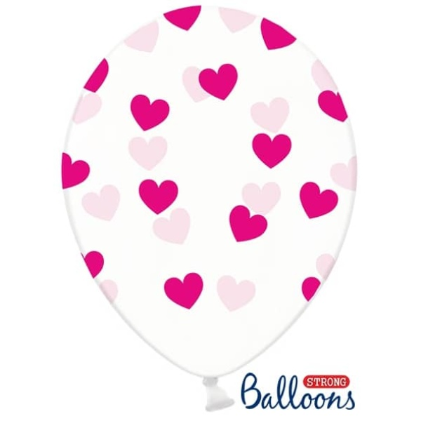 Balón Srdiečka ružový, priehľadný, 30cm, 1ks