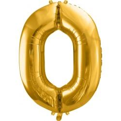 Fóliový balón číslo 0, zlatý, 86cm