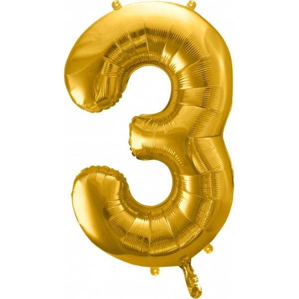 Fóliový balón číslo 3, zlatý, 86cm