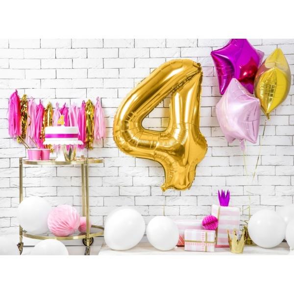 Fóliový balón číslo 4, zlatý, 86cm