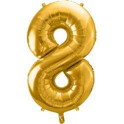 Fóliový balón číslo 8, zlatý, 86cm