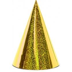 Klobúčiky holografické zlaté, 6ks