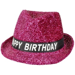 Klobúk leský s nápisom Happy Birthday, ružový