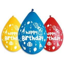 Balón Happy Birthday Párty mix farieb, vysiace, 30cm 5ks