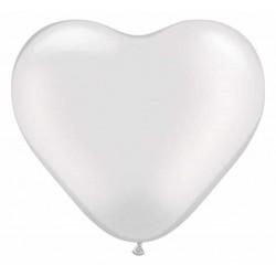 Balón srdce metalický perleťový biely, 15cm, 1ks