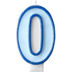 Číslova sviečka 0 modrá, 7cm