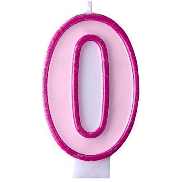 Číslova sviečka 0 ružová, 7cm