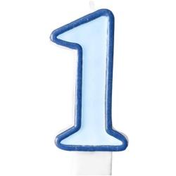 Číslova sviečka 1 modrá, 7cm