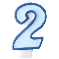 Číslova sviečka 2 modrá, 7cm