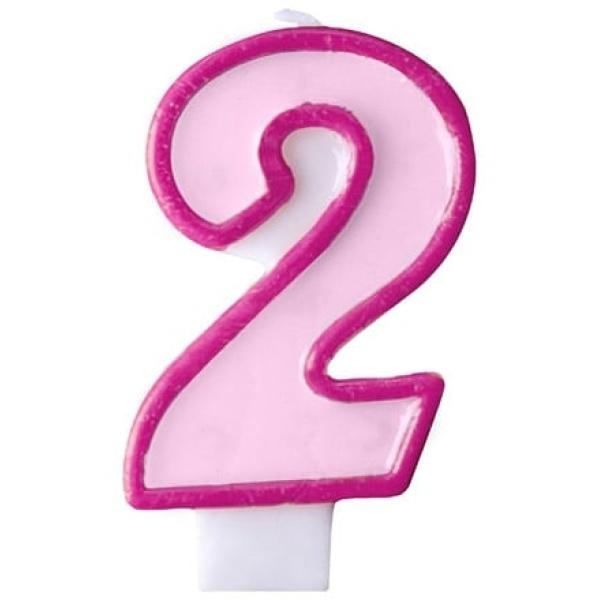 Číslova sviečka 2 ružová, 7cm
