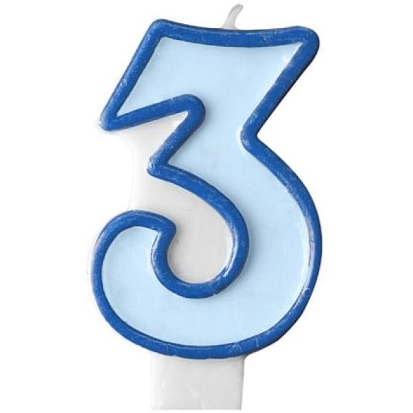 Číslova sviečka 3 modrá, 7cm